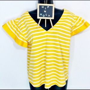 A NEW DAY Striped V Neck Top Yellow White Medium